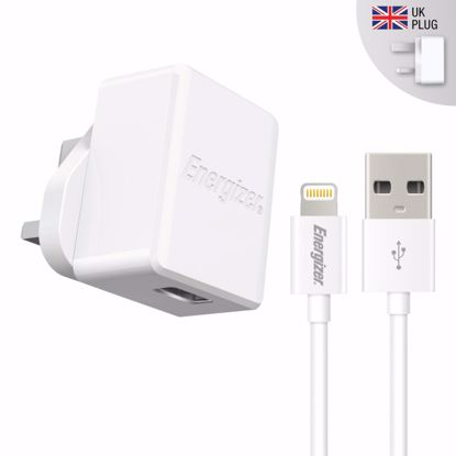 Picture of Energizer Energizer HighTech UK 2.4A Mains Charger with 1m Apple Lightning Cable in White