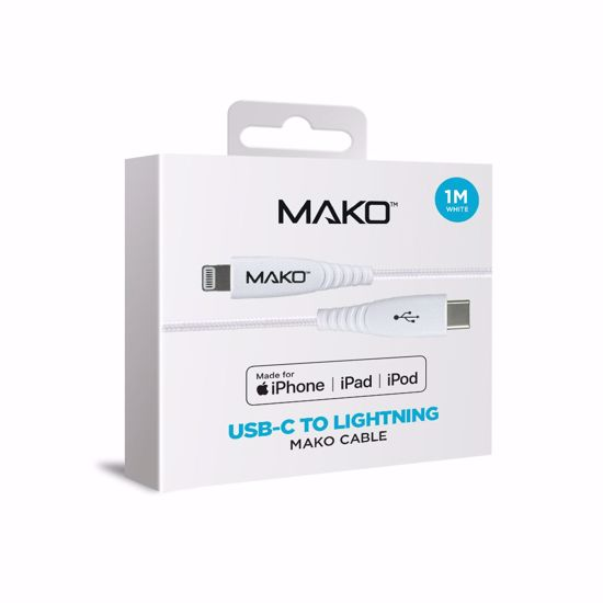 Picture of Mako Mako USB-C to Lightning MFI Cable 1m in White